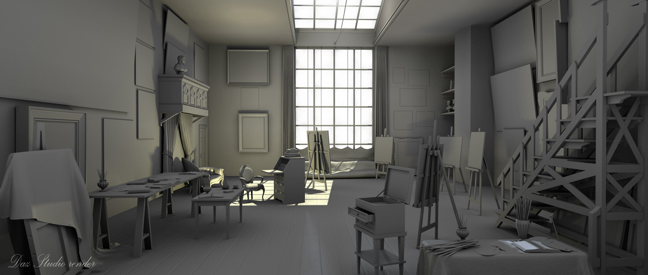 Clay render of a painter's workshop