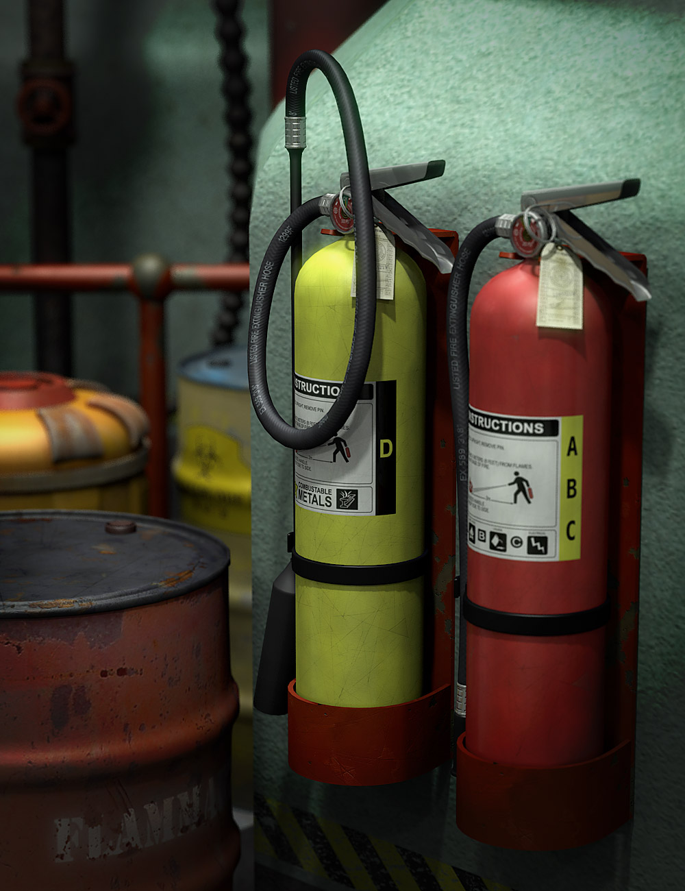 3d models of fire extinguishers and industrial equipment.