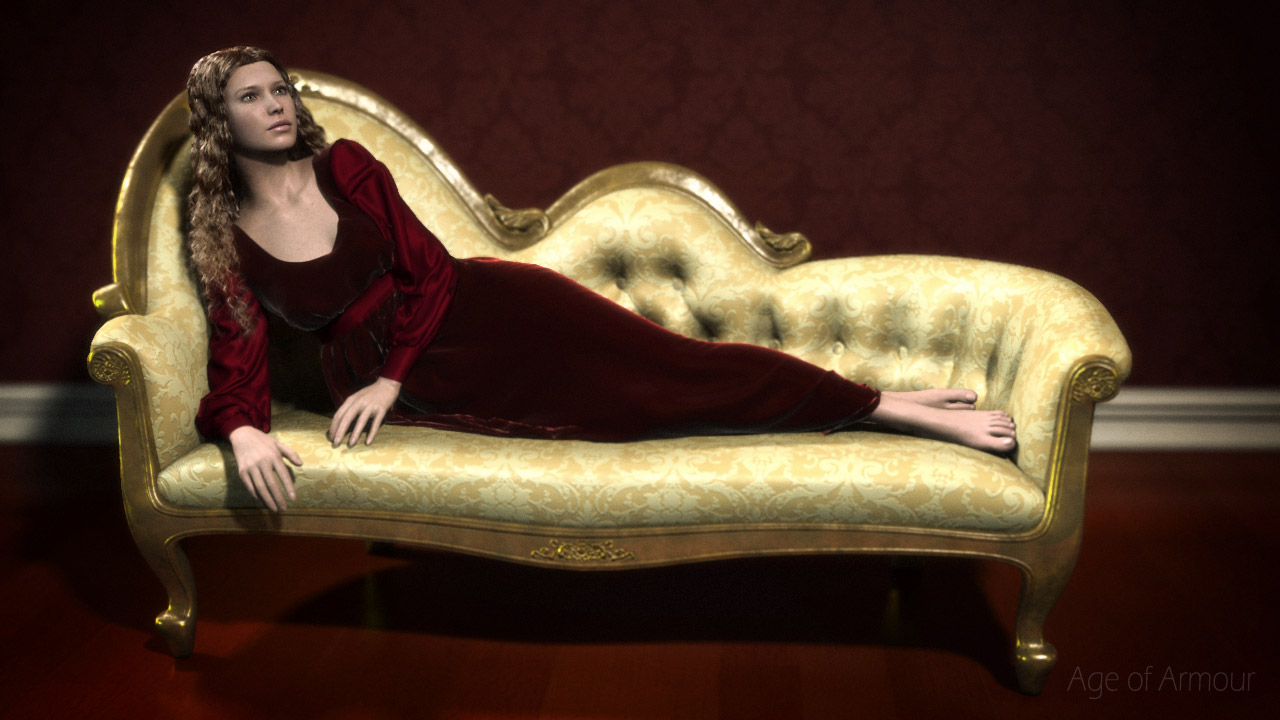 Carrara render of a woman reclining in a 19th century French chaise