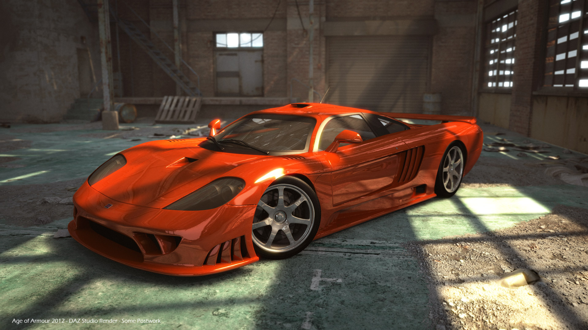 DAZ Studio render of an exotic sports car in a warehouse.