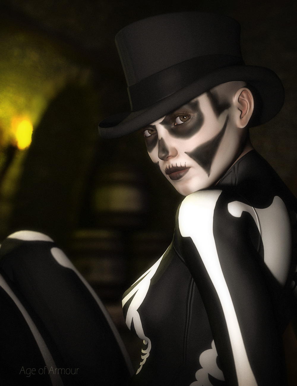 DAZ's Victoria 4 in a top hat and skeleton costume.