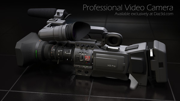 My 3d model of a professional video Camera