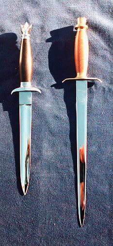 Two Daggers with exotic wood handles